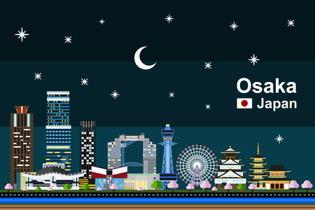 Simple flat-style illustration of Osaka city in Japan at night. Famous buildings and tourism objects such as Tempozan Ferris Wheel, Osaka Castle, Shitenno-ji temple, and Tsutenkaku included.