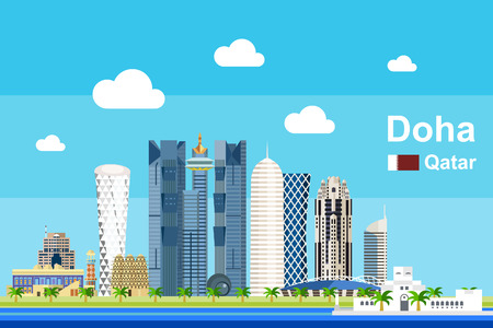 Simple flat-style illustration of Doha city in Qatar and its landmarks. Famous buildings and tourism objects such as Katara Cultural Village included. Stock Vector - 82633177