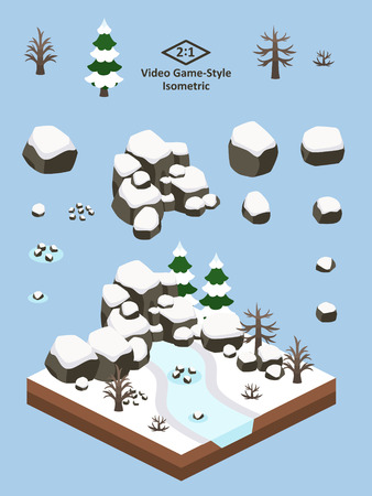 Boulders and rocks set for video game-type isometric winter boreal forest scene.