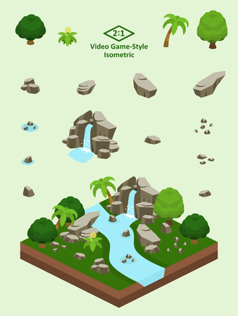 Slanted boulders, rocks, and waterfall set for video game-type isometric rainforest scene.
