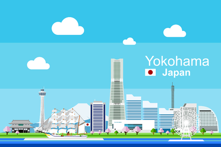 Simple flat-style illustration of Yokohama city in Japan and its landmarks. Famous buildings and tourism objects such as Nippon Maru ship museum, Marine Tower, and Yokohama Landmark building included.
