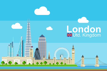 Simple flat-style illustration of London city in UK and its landmarks. Famous buildings and tourism objects such as Palace of Westminster, Buckingham Palace, and London Tower Bridge included. Иллюстрация