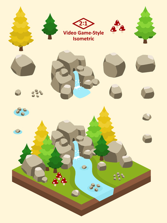 Boulders, rocks, and rock formations set for video game-type isometric boreal forest scene.