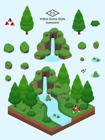 Boulders, rocks, and waterfall set for video game-type isometric evergreen coniferous forest scene. Çizim