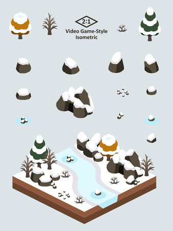 Boulders, rocks, and cave set for video game-type. Isometric first-snow after autumn forest scene.