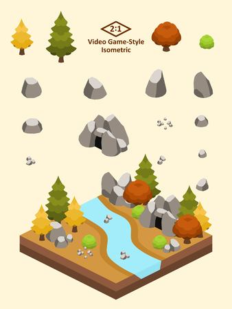 Boulders, rocks, and cave set for video game-type isometric temperate forest scene.