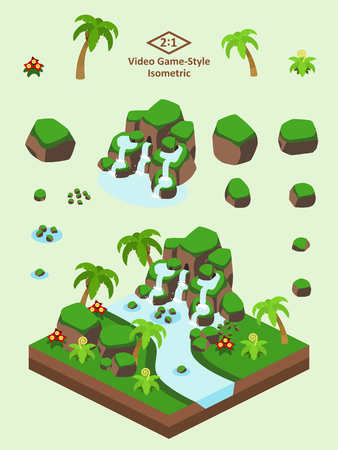 Boulders, rocks, and waterfall set for video game-type isometric tropical forest scene. Çizim