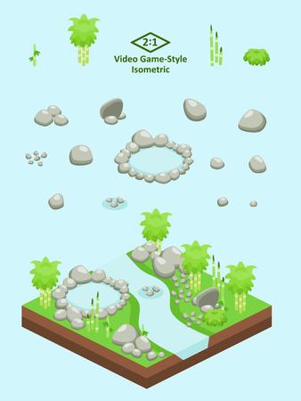 바위, 바위 및 연못 비디오 게임 형식 아이소 메트릭 대나무 숲 장면에 대 한 설정합니다.