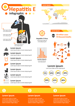 Simple flat style infographics components for health education poster about hepatitis E.