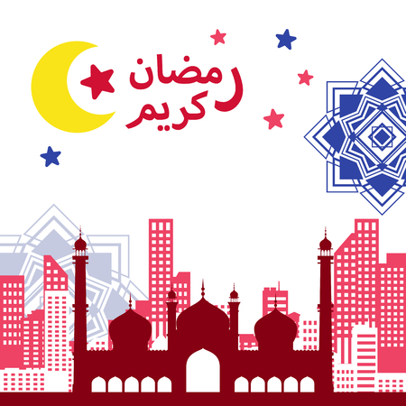 Illustration of colorful flat Mughal-style mosque over cityscape and arabesque pattern on square proportion to celebrate Ramadan 2018