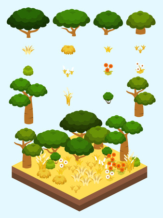 Tree, bushes, and flowers for game-style isometric African savannah biome.