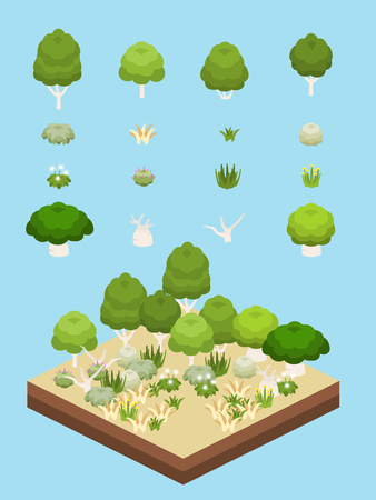 Tree, bushes, and flowers for game-style isometric Australian scrub biome and eucalyptus forest scene. Illustration