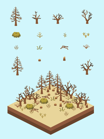 Dead and dry tree, bushes, and grasses for game-style isometric forest in drought scene. Illustration