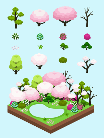 Tree, bushes, and flowers inspired from Japanese garden in spring for isometric colorful spring scene.