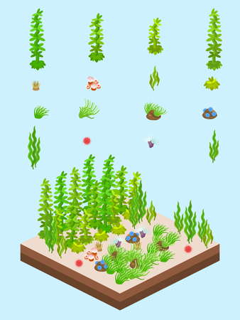 kelps and other underwater vegetations  for game-style isometric colorful kelp forest scene.