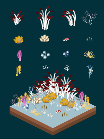 Deep-sea plants-like animals for game-style isometric pelagic seabed scene.
