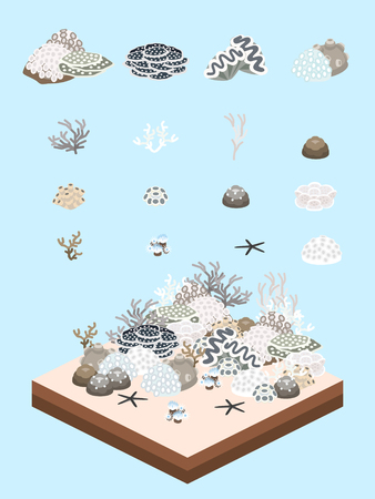 Bleached and dead tropical reefs and their plants-like animals for game-style isometric bleached tropical reef scene. Illustration