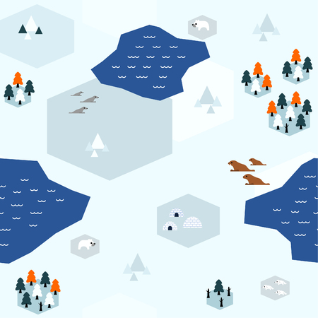 Seamless arctic map pattern in a very simple flat style, complete with its animals, plants, and local settlement