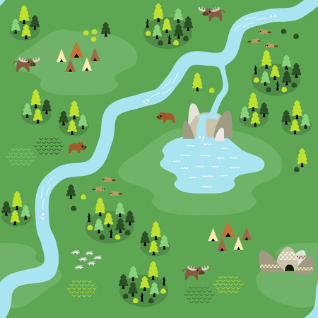 Seamless coniferous forest map pattern in a very simple flat style, complete with its animals, plants, and local settlement