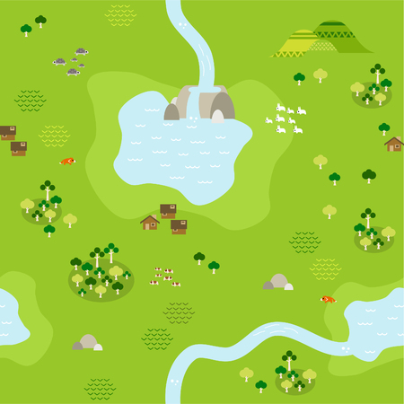 Seamless grassland map pattern in a very simple flat style, complete with its animals, plants, and local settlement Çizim