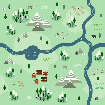 Seamless himalayan map pattern in a very simple flat style, complete with its animals, plants, and local settlement