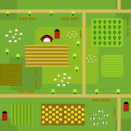 Seamless farmland map pattern in a very simple flat style, complete with its animals, plants, and barn Çizim