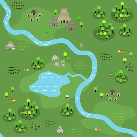 Seamless jungle map in flat style, depicting a jungle area crossed by river and some settlements around, with big ancient temple in the north, animals, and dense jungle area everywhere.