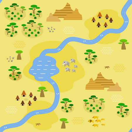 Seamless savannah map in flat style, depicting a savannah crossed by river and some settlements around, with big savannah rock formation in the north and east, animals, and occasional savannah trees. Çizim