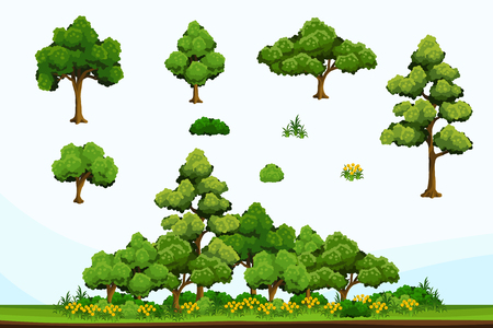2D flat-colored plants set for autumn-themed scenery