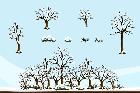 2D flat-colored plants set for winter-themed scenery