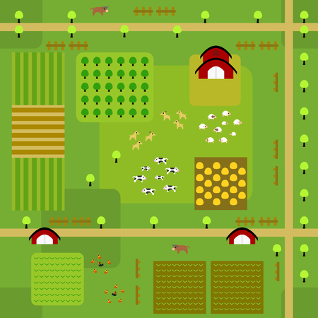Seamless farmland map pattern in a very simple flat style, complete with its animals, plants, and barn. This variant (Variant A) is combinable with map in the same series.