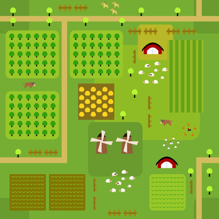 Seamless farmland map pattern in a very simple flat style, complete with its animals, plants, and barn. This variant (Variant B) is combinable with map in the same series. Illusztráció