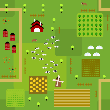 Seamless farmland map pattern in a very simple flat style, complete with its animals, plants, and barn. This variant (Variant C) is combinable with map in the same series.