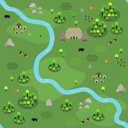 Seamless jungle map pattern in a very simple flat style, complete with its animals, plants, and local settlement. This variant (Variant A) is combinable with map in the same series. Illustration