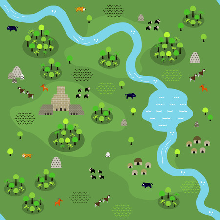 Seamless jungle map pattern in a very simple flat style, complete with its animals, plants, and local settlement. This variant (Variant B) is combinable with map in the same series.