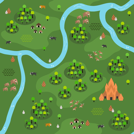 Seamless Southeast Asian jungle-inspired pattern in a very simple flat style, complete with its animals, plants, and local settlement. This variant (Variant C) is combinable with map in same series