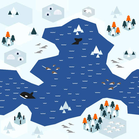 Seamless arctic map pattern in a very simple flat style, complete with its animals, plants, and local settlement. This variant (Variant A) is combinable with map in the same series. Illusztráció