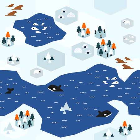 Seamless arctic map pattern in a very simple flat style, complete with its animals, plants, and local settlement. This variant (Variant B) is combinable with map in the same series.