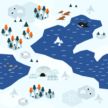Seamless arctic map pattern in a very simple flat style, complete with its animals, plants, and local settlement. This variant (Variant C) is combinable with map in the same series.