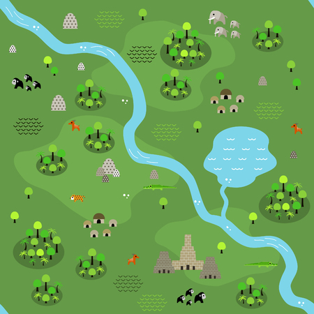Seamless jungle map pattern in a very simple flat style, complete with its animals, plants, and local settlement. This variant (Variant C) is combinable with map in the same series. Çizim
