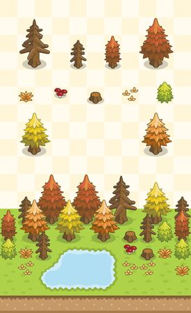 Conifers, dead conifers, bushes, and grass set for autumn boreal forest scene on oblique projection. Images are designed to align into square grid for easy game tile-mapping.