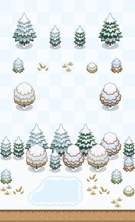 Temperate forest plants set (pine tree, generic tree) in snowy day on oblique projection. Images are designed to align into square grid for easy game tile-mapping.