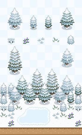 Taiga plants set (pine tree, generic tree) in snowy day on oblique projection. Images are designed to align into square grid for easy game tile-mapping.