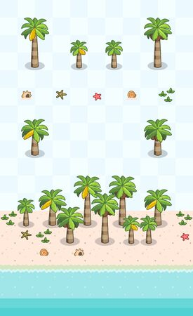 Coconut trees and beach objects for beach scene on oblique projection. Images are designed to align into square grid for easy game tile-mapping.