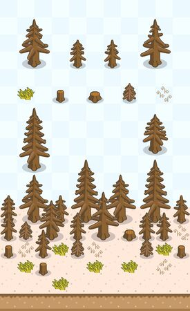 Dead coniferous tree and tree stumps for drought scene on oblique projection. Images are designed to align into square grid for easy game tile-mapping.