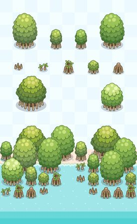 Mangrove tree and it's growth stage for mangrove forest scene on oblique projection. Images are designed to align into square grid for easy game tile-mapping. 일러스트