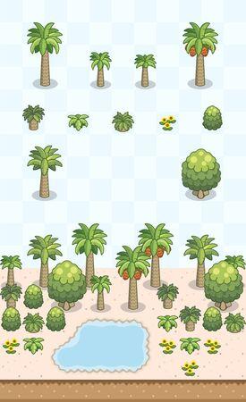 Des palmiers dattiers et des buissons pour une scène d'oasis du désert saharien/arabe sur projection oblique. Les images sont conçues pour s'aligner sur une grille carrée pour faciliter la cartographie des tuiles de jeu.