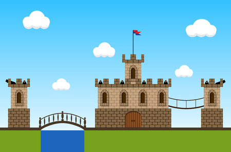 fortress: Cartoon game background with fortress and cannons. Illustration