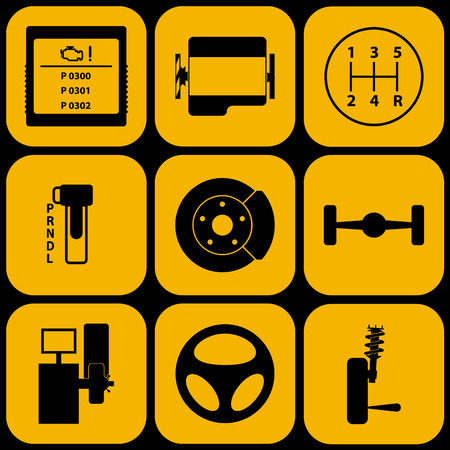 Set of automotive icons for car service