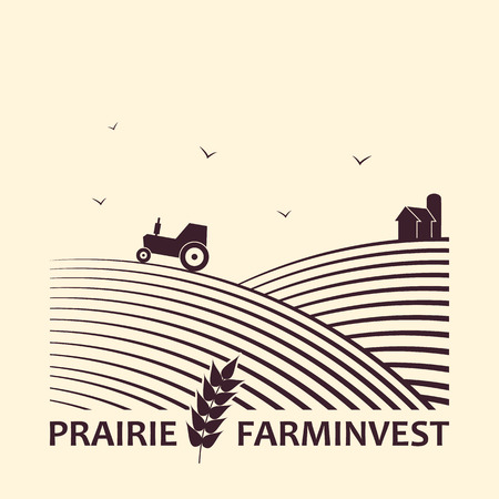 fields: Vector logo concept  for farm investment business. Illustration